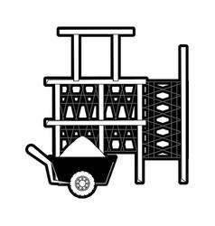 Scaffold and wheelbarrow vector