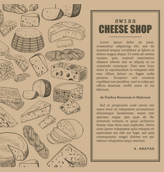 Shop or store market sketch banner with cheese vector