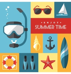 Summer icons set 1 vector image