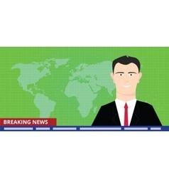Breaking news tv anchor studio man reporter vector