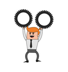 color image cartoon business man holding a gears vector image vector image