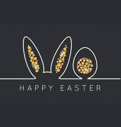 easter bunny line golden egg design background vector image