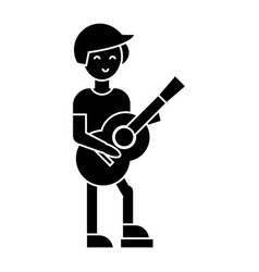 guitar player flamenco icon vector image