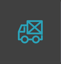 mail truck in an envelope linear style logos on a vector image vector image