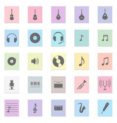music set black icon on color sticker vector image