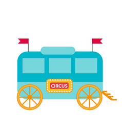 Circus trailer wagon icon flat style isolated vector