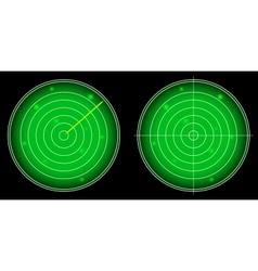 Glowing Radar Screen with Luminous Targets vector image