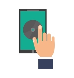 hand hold smartphone music application technology vector image
