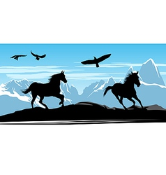 horses on snow mountains vector image