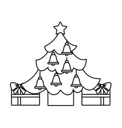 merry christmas happy tree star gift decoration vector image