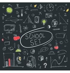 school big set on blackboard vector image