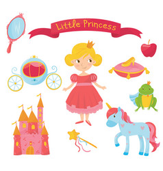 set of princess items girl in dress handle vector image vector image