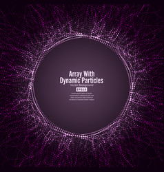 array with dynamic particles round dots vector image