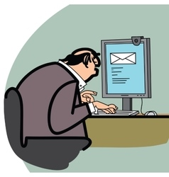 Businessman and a letter in the computer vector image