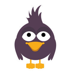 Purple caricature bird animal with feathers vector