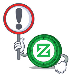 With sign zcoin character cartoon style vector