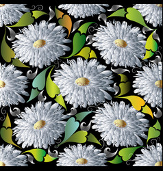 3d floral seamless pattern white blossom vector image