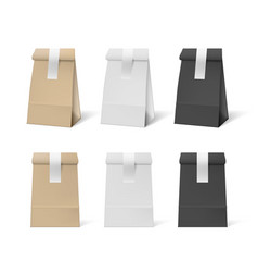 3d white black and brown paper bag with stickers vector