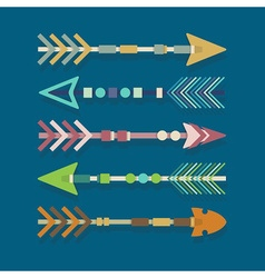 Abstract close up of Aztec arrows icons set vector