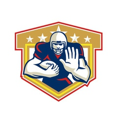 American Football Running Back Fending Shield vector image