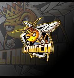 Angry bee e sport mascot logo design vector