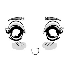 Anime surprised tender woman face vector