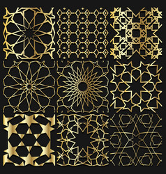 Arabesque gold pattern background collection vector