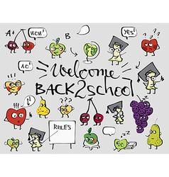 Back to school fruit doodle set background vector image
