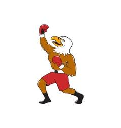 Bald eagle boxer pumping fist cartoon vector