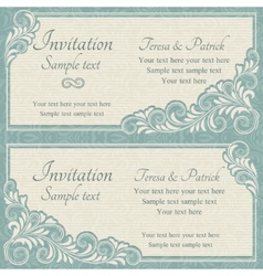 Baroque wedding invitation blue and beige vector image