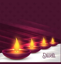 beautiful diwali diya festival background design vector image