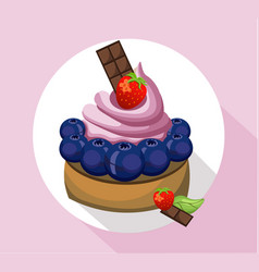 Berry mousse delicious cake sweet dessert vector