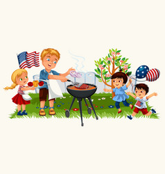 Blonde young man with lovely kids cooking steak on vector