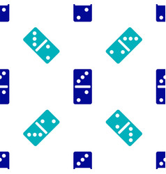 Blue domino icon isolated seamless pattern on vector