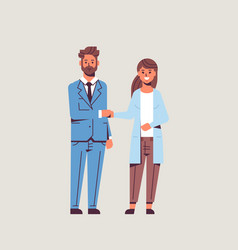businesspeople man woman handshaking business vector image