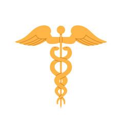 caduceus ancient gold symbol of medicine vector image