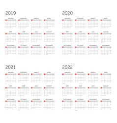 calendar on 2019 2020 2021 2022 vector image