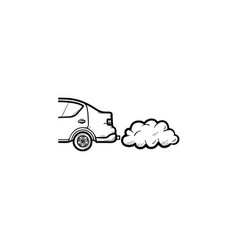 car emitting exhaust fumes hand drawn outline vector image
