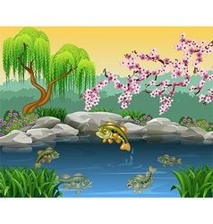 Cartoon bass fish collection in a pond vector