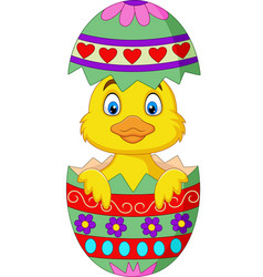 Cartoon duckling come out from an easter egg vector