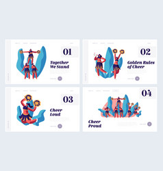Cheerleading website landing page set vector