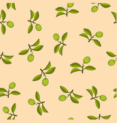 citrus lime branch seamless pattern vector image