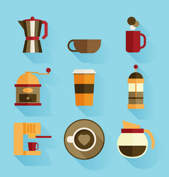 Coffee icons flat design vector