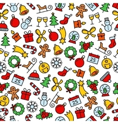 colourful christmas seamless pattern vector image