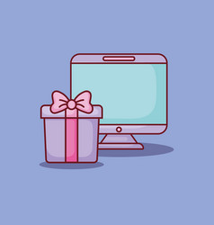 computer gift box online dating vector image