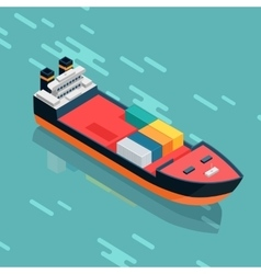 Container or Cargo Ship Sailing in the Sea vector