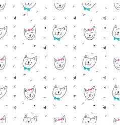 cute cats faces seamless pattern vector image