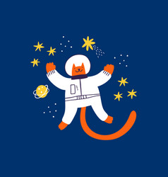 Cute red cat astronaut flying in outer space hand vector