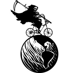 Death bicycle and earth vector