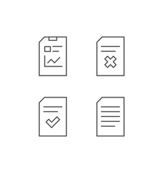 Document report and checklist line icons vector